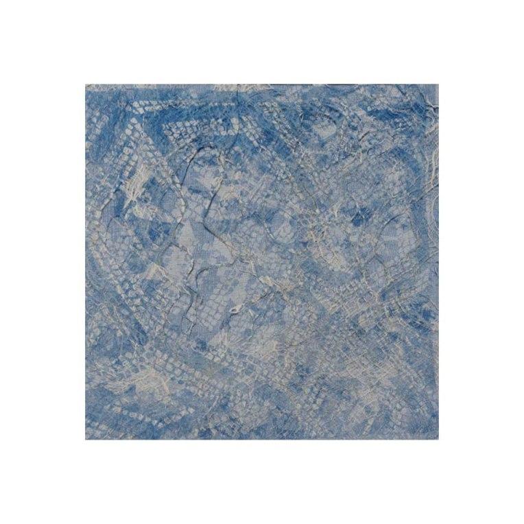 Layered block print: distressed scrim