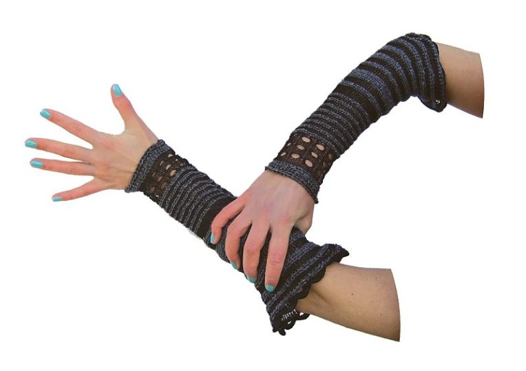 Machine knitted, lace gauntlets in wire and thread.