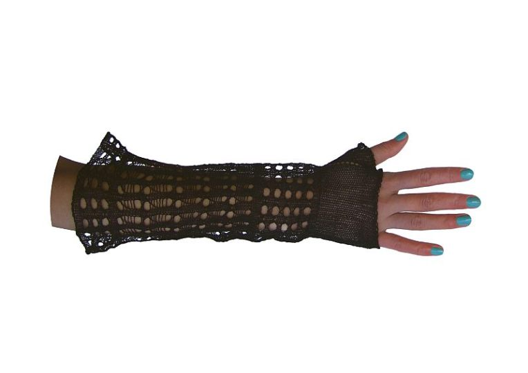 Machine knitted, lace gauntlet in wire and thread.